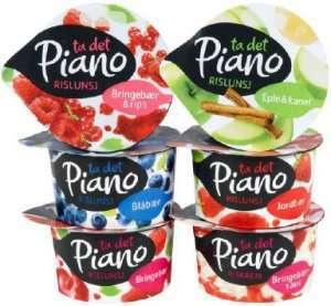 Bilde av Tine Piano Riskrem med jordbærsaus.