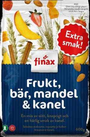 Prøv også Finax musli frukt , bær, mandel og kanel.