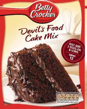 Bilde av Betty Crocker devils food cake mix.