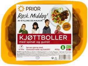 Prøv også Prior kjøttboller av kalkun m gulrot og spinat.