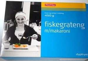 Bilde av First price dypfryst fiskegrateng med makaroni.