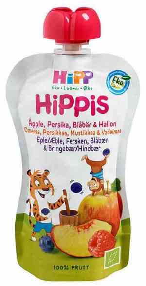 Prøv også HiPP smoothie, eple, fersken, blåbær og bringebær, fra 6 mnd.