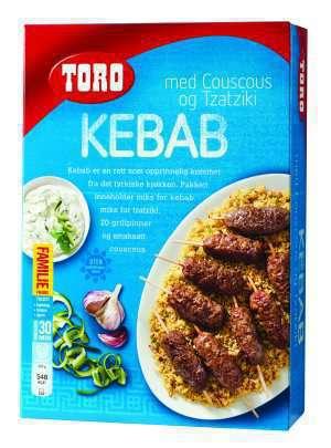 Prøv også Toro kebab med couscous og tzatziki.