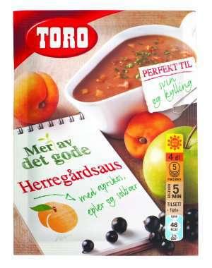 Prøv også Toro herregårdsaus med aprikos, eple og solbær.