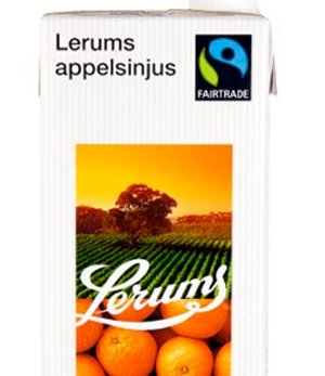 Prøv også Lerums appelsinjus Fairtrade.