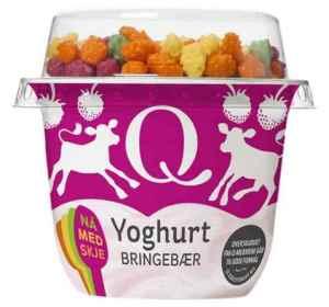 Prøv også Q yoghurt m/musli bringebær.