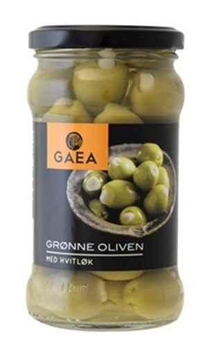 Bilde av Gaea Grønne Oliven med hvitløk.