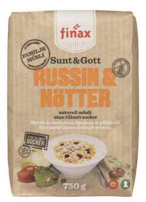 Prøv også Finax sunt og gott russin og nøtter.