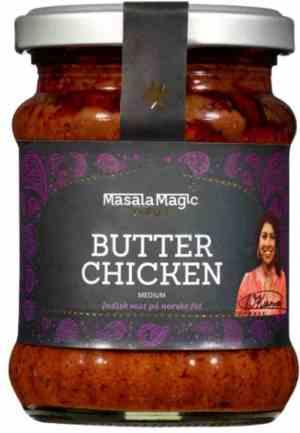 Prøv også Masalamagic Nirus butter chicken.