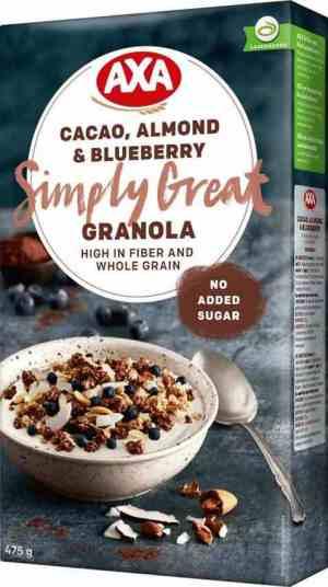 Prøv også Axa granola cacao almond og blueberry.