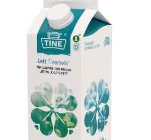 Prøv også Tine lettmelk 0,7%.