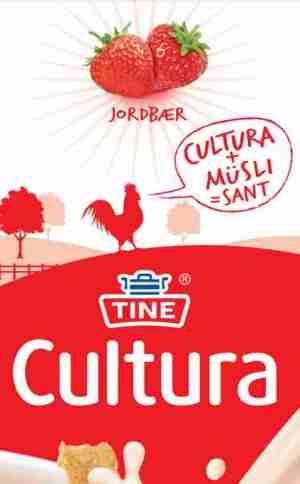 Bilde av Tine Cultura, syrnet melk, jordbær, D-vitamin.