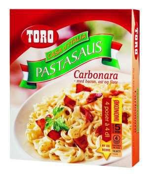 Prøv også Toro pastasus carbonara med bacon, ost og fløte..