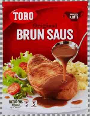 Prøv også Toro brun saus uten løk pose tilberedt.