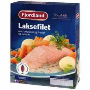 Prøv også Fjordland Kokt laks med urtesaus, poteter og babygulrøtter.