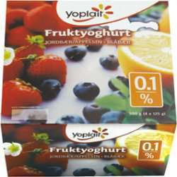 Bilde av Yoplait 0,1% Blåbær - appelsin/jordbær 4x125g.