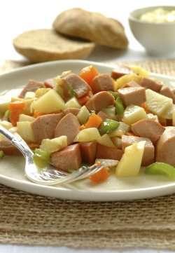 Bilde av Pytt i panne, stekte poteter med kjøtt og løk, fryst, kjøpt.