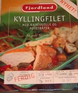 Bilde av Fjordland Kyllingfilet med ratatouille og potetbåter.