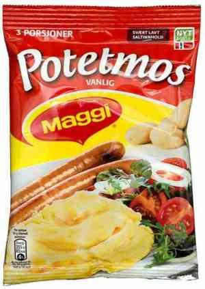 Bilde av Maggi Potemos med melk og gressløk.
