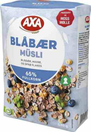 Prøv også Axa blåbærmusli.