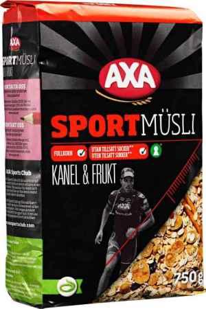 Prøv også AXA sport musli kanel og frukt.