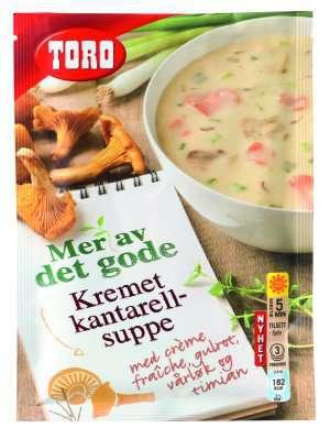 Prøv også Toro Kremet kantarellsuppe med crème fraîche, gulrot, vårløk og timian.