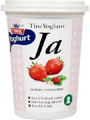 Bilde av Tine yoghurt ja jordbær/markjordbær.
