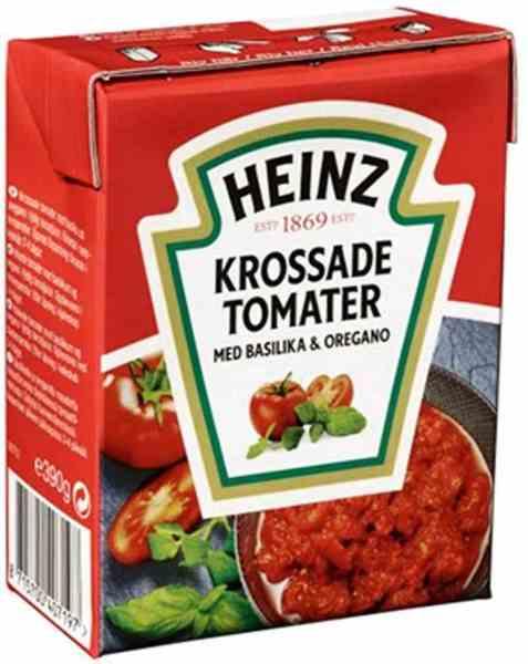 Bilde av Heinz Hakkede Tomater med Oregano og Basilikum.