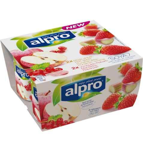 Bilde av Alpro eple med rips og jordbær med rabarbra.