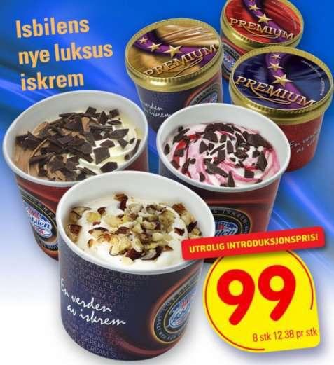 Bilde av Isbilen premium Crême vanilje hasselnøttkrokan og hasselnøtter.