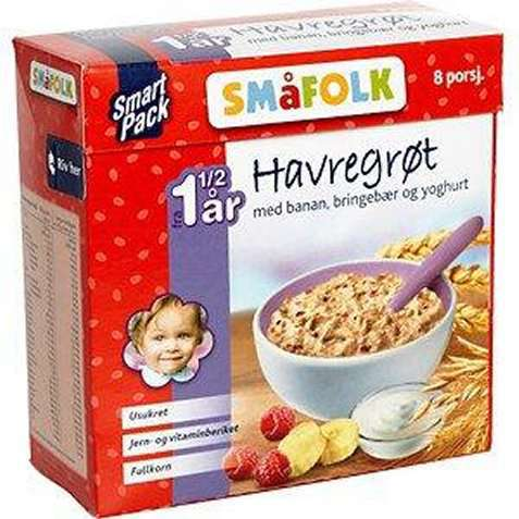 Bilde av Småfolk Havregrøt med banan, bringebær og yoghurt.