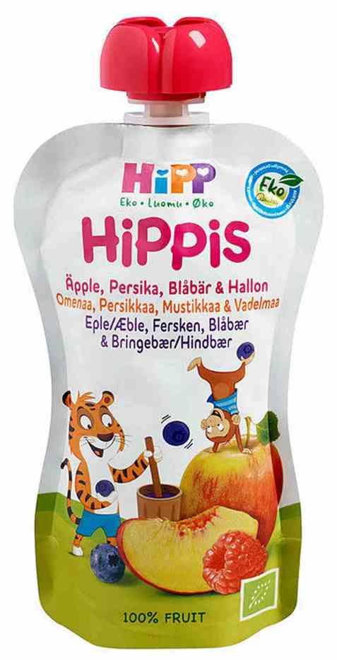 Bilde av HiPP smoothie, eple, fersken, blåbær og bringebær, fra 6 mnd.