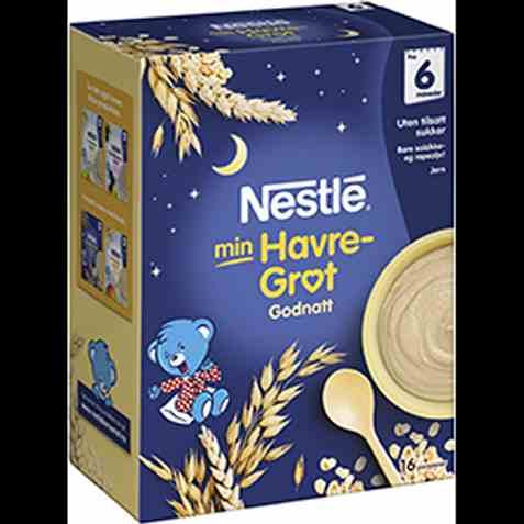 Bilde av Nestle God natt havregrøt naturell, fra 6 mnd, pulver.