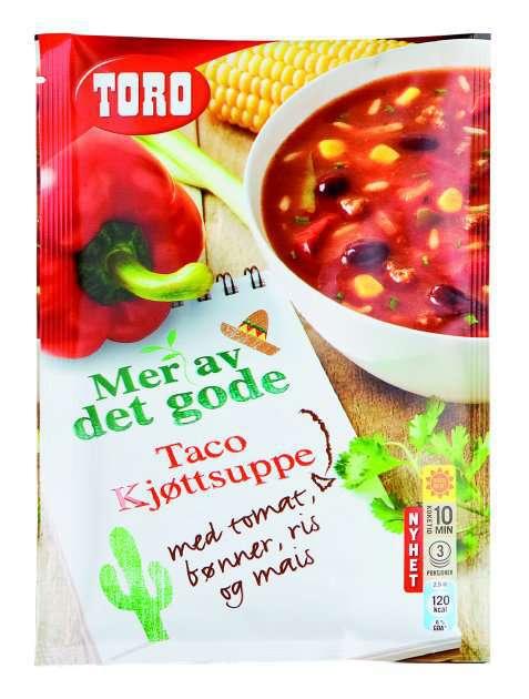 Bilde av Toro taco kjøttsuppe med tomat, bønner, ris og mais.