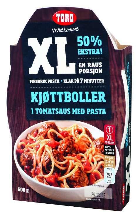 Bilde av Toro XL kjøttboller i tomatsaus med pasta.