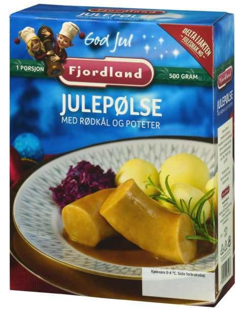 Bilde av Fjordland Julepølser med rødkål og poteter.