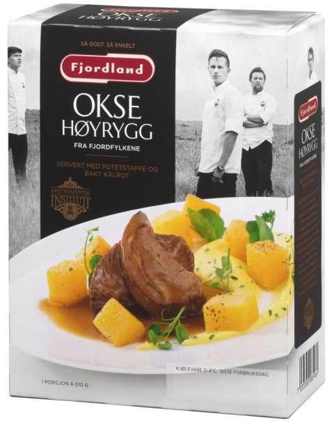 Bilde av Fjordland Oksehøyrygg med potetstappe og bakt kålrot.