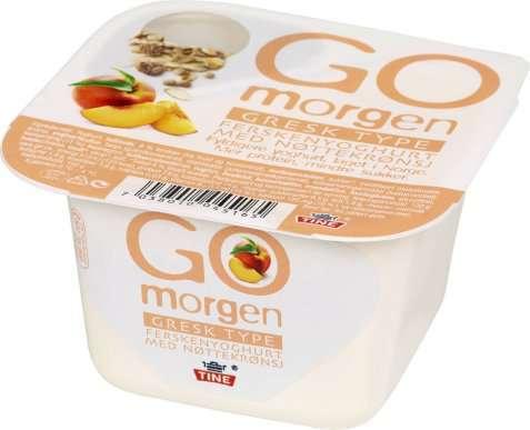 Bilde av Tine Go morgen Gresk type Ferskenyoghurt med nøttekrønsj.