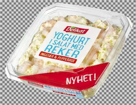 Bilde av Delikat Yoghurt i salat med reker.