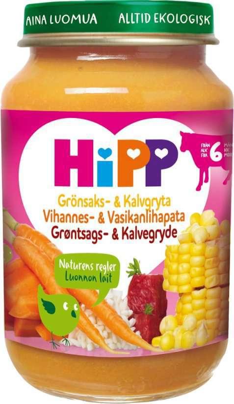 Bilde av Hipp Grønnsaks- og Kalvegryte 8 mnd.