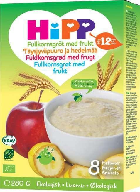 Bilde av Hipp 5-kornsgrøt med frukt.