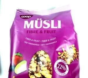 Bilde av Coop musli fibre and fruit.