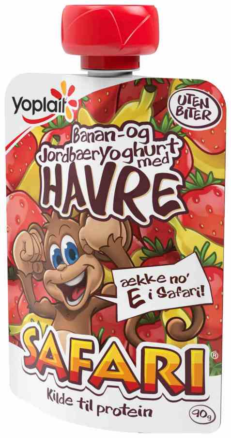 Bilde av Fjordland Yoplait Safari Banan-/jordbæryoghurt  m/havre.
