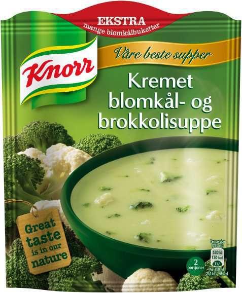 Bilde av Knorr kremet blomkål og brokkolisuppe.