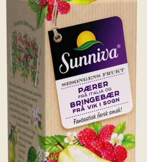 Bilde av Tine Sunniva Premium Pærejuice frå Italia og sumarens Bringebær frå Vik i Sogn.