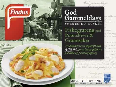 Bilde av Findus God Gammeldags Fiskegrateng Potetskiver og Grønnsaker.