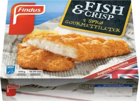 Bilde av Findus Fish & Crisp fiskepinner.