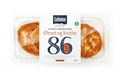 Bilde av Lofoten 86 % Grov Fiskeburger med ørret og kveite.