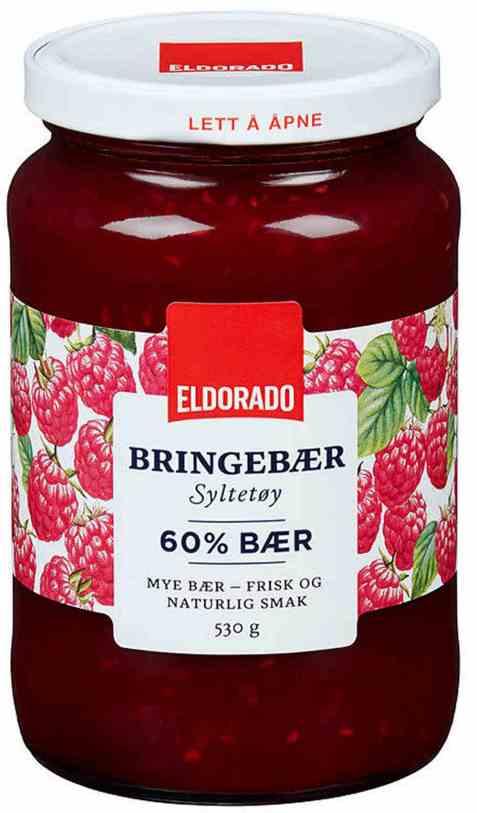 Bilde av Eldorado bringebærsyltetøy.