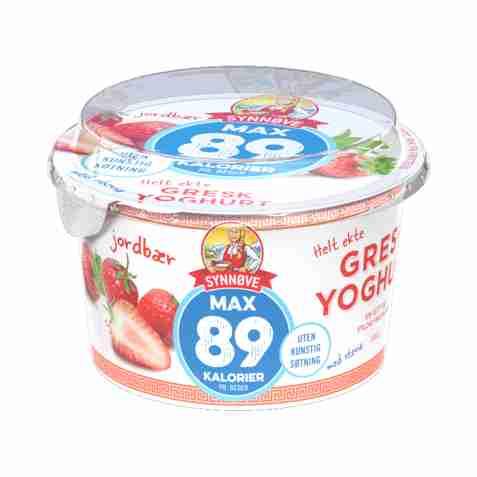 Bilde av Synnøve gresk yoghurt 89 kalorier jordbær.